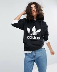 adidas outfits. adidas trefoil pullover hoodie in black outfits