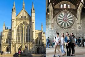 was originally cited as the location of king arthur s chief court later works place the monarch and his round table in england s winchester castle