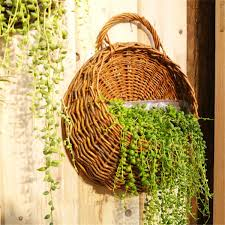 wicker wall hanging flower pocket basket garden outdoor