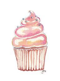 Watercolor Painting - Kids art- Cute Pink Cupcake Art Print, 8x10 Wall Art.  $15.00, via Etsy.   Cupcake art print, Cupcake art, Cupcake illustration