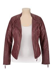 plus size asymmetrical zip faux leather jacket oxblood