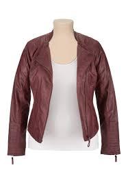 plus size asymmetrical zip faux leather jacket oxblood