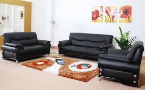 interior ordinary sofa sets for living room with colorful carpet and unique floor with rack black leather sofa perfect