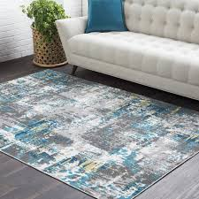 ebern designs azurine distressed abstract teal grey area rug in and idea 2