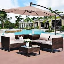 patio table umbrellas. Wonderful Patio Costway 10u0027 Hanging Solar LED Umbrella Patio Sun Shade Offset Market WBase  Beige To Table Umbrellas M
