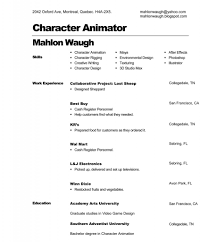 Animator Resume Emejing Character Animator Cover Letter Contemporary Resumes 31