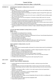 Download Procurement Operations Analyst Resume Sample as Image file