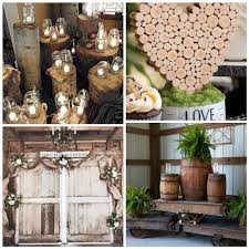 Rustic Wedding Decorations with Tree Trunk, Lighted Mason Jars, Burlap  Swags, Floral Sprays