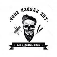 Stock Illustration Skull Vintage Barber Shop Logo Design Template