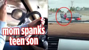 Mom spanks teen son