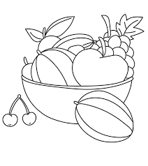 Still life with assorted fruits. Fruits And Vegetables Coloring Pages Momjunction