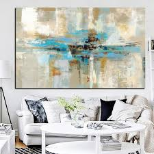 bedroom wall art canvas. Plain Bedroom Blue Brown Modern Abstract Oil Painting Poster Print Wall Art Canvas  Bedroom Picture For Inside W