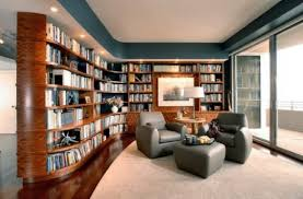 Contemporary living room with a library