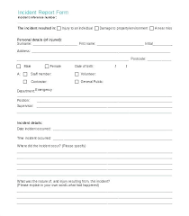 Accident Incident Report Form Template Best Of Word Free Job