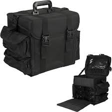 opentip hiker all black soft sided nylon professional makeup case with drawers bags hk3601