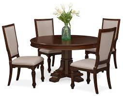 dining room furniture vienna round dining table and 4 upholstered side chairs merlot