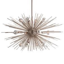 sunburst polished nickel mid century industrial sputnik chandelier 29d kathy kuo home