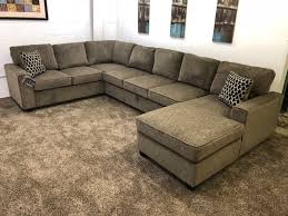 brown chenille u shaped sectional sofa