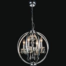 lighting luxury cage light chandelier 17 0002206 18 led modern crystal round pendant polished chrome 4