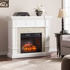reese white faux stone corner convertible infrared electric fireplace