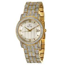 bulova crystal 98b009 men s watch watches bulova men s crystal watch
