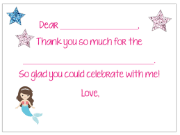 Blank Thank You Notes Fill In The Blank Thank You Notes Mermaid V1