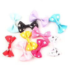 <b>50pcs</b> Mixed Satin <b>Ribbon</b> Bowknot Star Hair Clips Applique <b>DIY</b> ...