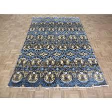 6 x 9 3 hand knotted denim blue ikat peshawar oriental rug g5853