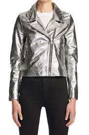 goats leather metallic moto jacket