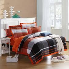 boys black white and orange madras plaid print high fashion traditional 100 organic cotton full queen size bedding sets