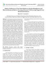 Pdf Study Of Influence Of Tool Nose Radius On Surface