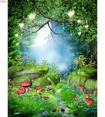 Shinehome Natuurlijke Fantasy Forest Stenen Brug Bomen Mural Rolls 3