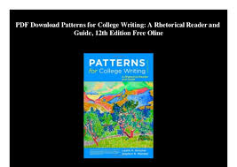 Patterns For College Writing Pdf Mesmerizing PDF Download Patterns For College Writing A Rhetorical Reader And Gui
