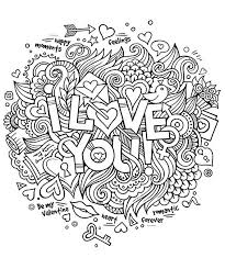 Coeur Amour I Love You Anti Stress Art Th Rapie Coloriages