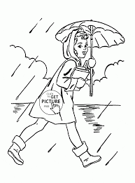 Woman With Umbrella Rainy Spring Coloring Page For Kids Seasons