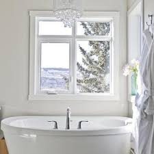 crystal chandelier over tub