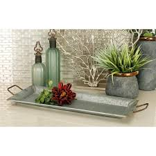 Decorative Metal Serving Trays Farmhouse Galvanized Metallic Rectangular Metal Serving Trays Set 38