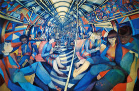 Subway NYC, 1994 (oil on canvas) - Charlotte Johnson Wahl as art print or  hand painted oil.