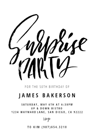 Surprise Party Birthday Invitation Template Free