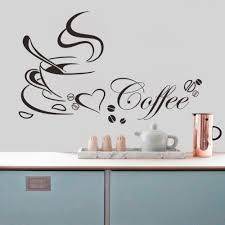 coffee cup with heart vinyl e restaurant kitchen removable wall stickers diy home decor wall art mural drop jia214 vinyl tree wall decals vinyl
