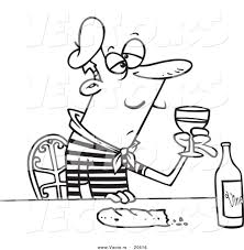 Vector of a Cartoon French Man with Wine and Bread - Coloring Page ...