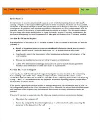 Security Incident Report Template Templates Form Information