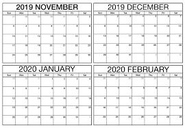 November 2019 To February 2020 Calendar Excel Magic