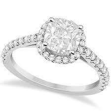 design cushion cut diamond engagement ring 14k white gold 0 88ct