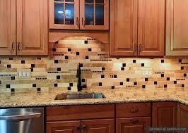 brown kitchen cabinet travertine glass backsplash tile