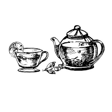 teacup and teapot drawing. Delighful Teapot Hand Drawn Sketch Of Teacup And Teapot Vintage Sketch Great For Banner  Label For And Teapot Drawing