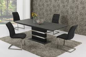 large extending black stone effect glass dining table and 8 chairs set