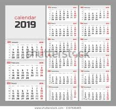 Week Number Calendar Wall Quarterly Calendar 2019 Week Numbers Stock Image