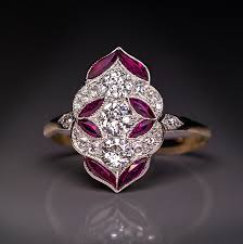 antique early art deco diamond ruby enement ring