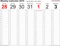 Fillable Calendars 2015 Weekly Calendar 2015 Template For Pdf Version 2 Landscape 53